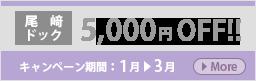 尾﨑ドック5000円OFFキャンペーン(1-3月まで)